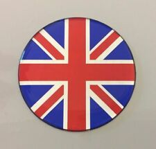 1 x 90mm BRITISH BORN + 1 x 90mm RED, BLUE, CHROME UNION JACK Stickers Domed