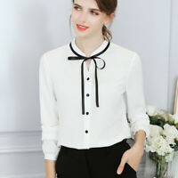 Fashion OL Women Long Sleeve Bow Tie Blouse Formal Loose Tops Shirts