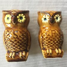 Vintage Salt & Pepper Shaker Set OWLS Retro Mid Century Large Brown Ceramic