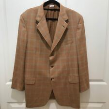 Brioni Three Button 100% Cashmere Blazer, Nometano, Orange Plaid
