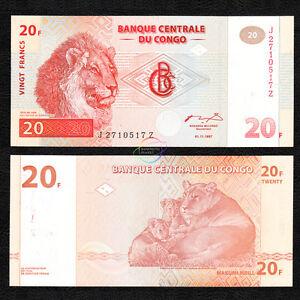CONGO D.R. 20 Francs *Z* Suffix REPLACEMENT 1997 P-88A HDM UNC Uncirculated