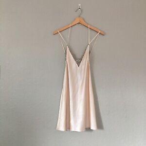 Victoria's Secret Beige Cream Lace Slip Dress Lingerie Nightgown  Size M