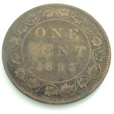 1893 Canada One 1 Cent Large Penny Copper Canadian Circulated Victoria Coin L471