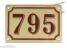 Plaque émaillée marron beige NUMERO de RUE 795 émail enamel plate street number