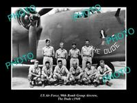 OLD POSTCARD SIZE PHOTO OF US AIR FORCE 90th BOMB GROUP THE DUDE CREW c1940