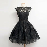 New Women Ladies Sleeveless Lace Flared Skater Mini Dress Evening Party Dresses*