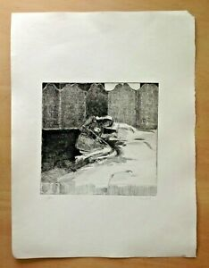 Original etching of a reclining female nude - 1/50 Signed HCH