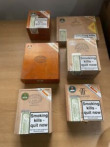 6 Assorted Empty Wooden Cigar Boxes