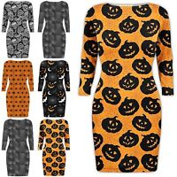 Womens Ladies Halloween Spider Web Pumpkin Crew Neck Spooky Scary Bodycon Dress