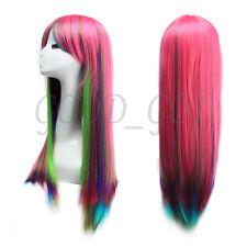 80cm Glatt Langhaarperücke Haar Anime Manga Cosplay Perücken Haarersatz Wig Rot