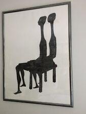 "VASO KATRAKI GREEK ARTIST ""the Visit"" Black White HUGE SIGNED"