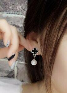 Stud Earrings Women Black Four Leaf Clover Pearl Rhodium Plated Push Back Post