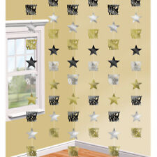 6 X 7ft Happy Year Hanging String Party Decorations Black Gold Silver Star