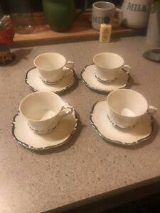 Set 4 Vintage Harmony House Starlight Cups And Saucers Platinum Edging