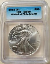 2016 (P) ICG MS69 SILVER EAGLE *STRUCK AT THE PHILADELPHIA MINT* (P) MONSTER BOX