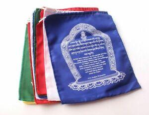 rare BILINGUAL English/Tibetan WORLD PEACE TIBETAN BUDDHIST COTTON PRAYER FLAGS