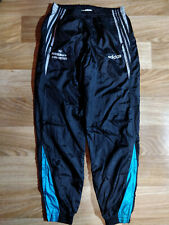 Adidas 90's Vintage Mens Track Pants Nylon Trousers Black Shiny Hype