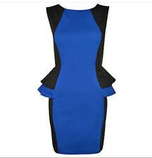 Robe d'été bleu et noir, stretch chic tailleur bureau 38