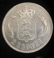 1899 Denmark 2 Kroner Silver Coin Nice Condition