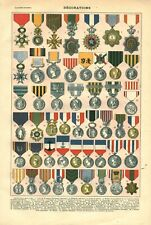 Document ancien décorations Françaises recto verso issu du livre de 1922