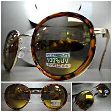 Men's or Women VINTAGE RETRO Style SUNGLASSES Tortoise & Gold Frame Mirror Lens