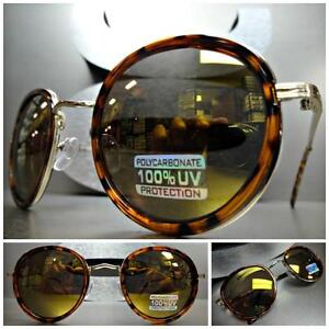 Men's or Women VINTAGE RETRO Style SUNGLASSES Tortoise & Gold Frame Mirror Lens