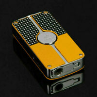 New Yellow Metal Cohiba Cigar Lighter Triple Flame 3 Turbo Jet Flame- Mens Gift
