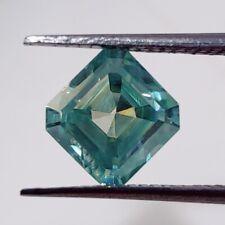 Vvs1 Asscher Cut Loose Real Moissanite 4 Ring Light Blue 1.40 Ct 6.85 x 6.49 Mm