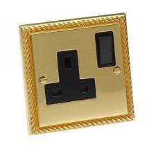 Single Plug Wall Socket Georgian Brass Rope 1 Gang 13 Amp Polished Mirror Brass