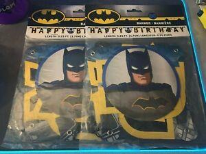 Lot of 2 BATMAN Gotham Hero HAPPY BIRTHDAY BANNER DC Comics New