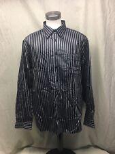 Paul Fredrick Mens No Iron Size XL Slim Fit  Stripe Cotton L/S Shirt - Awesome