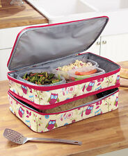 Owls Hot Cold Expandable Casserole Carrier Work Picnic Parties Transport Food