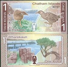 CHATHAM ISLANDS 1 KOHA HOLOGRAPHIC STRIP POLYMER FANTASY BILL 2013 (2014) - UNC!