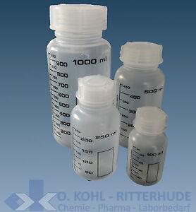 Weithalsflasche PP Laborflasche rund graduiert 50 100 250 500 1000 2000 ml o.Set