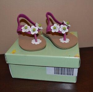 Smartfit 50819 Sandals Size 2 Baby Girl Teeny Toes Flower Sandals Flip Flops NEW