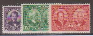 A3097: Canada #146-148 Mint, OG, F-VF, NH; CV