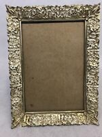 Vintage Gold Brass Tone Ornate Metal Picture Wall Frame Mid Century Detailed