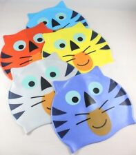 UK Seller Kids Silicone Smiling Cute Tiger Swimming Hats Caps