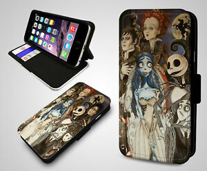 Nightmare Before Christmas Jack and Sally Collage Leather Walet Phone Case Cover