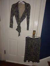 DIANE VON FURSTENBERG Skirt & Wrap Shirt 2pc Silk Snake Print Set Sz 6/8P