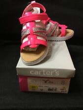 GIRLS CARTER'S LINDA PINK/SILVER SANDALS 9M - BRAND NEW IN BOX $35