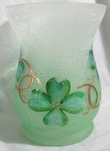 Yankee Candle Frosted Large Jar Holder FOUR LEAF CLOVER HURRICANE Shamrocks gold