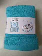 3 Face Cloths, Brand New, Turquoise, Primark