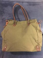 Annabelle Thom Kenya Tote, Leather, Canvas, Snap Close, Olive Green, NWOT