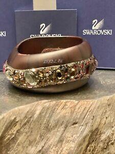 Swarovski Ginseng Bangle Bracelet Cuff Ebony Crystal Jewelry 1024568 $425 RARE