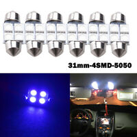 6 x 31mm 4 SMD 5050 LED Car Interior Festoon Dome Light Bulbs Lamp Blue
