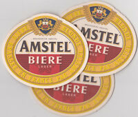 LOT DE 3 SOUS-BOCKS AMSTEL BIERE COASTER - BAR BISTROT FRANCE 100% NEUF