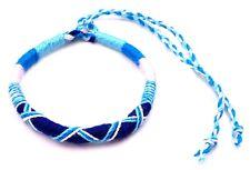 Bracelet Brésilien Amitié Macramé Coton Vœu porte Bonheur blanc bleu turquoise