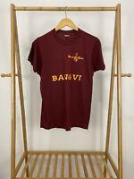 VTG 80s Screen Stars Wurst Place Maroon Thin 50/50 Short Sleeve T-Shirt Sz L USA