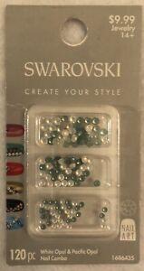 Swarovski Crystal Nail Art White Opal & Pacific Opal 120 pc